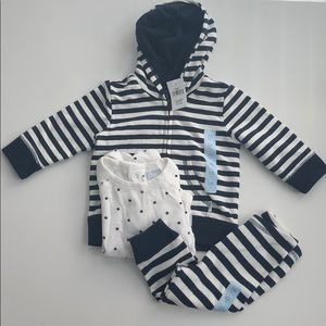 3 piece UNISEX Baby gap navy and white outfit